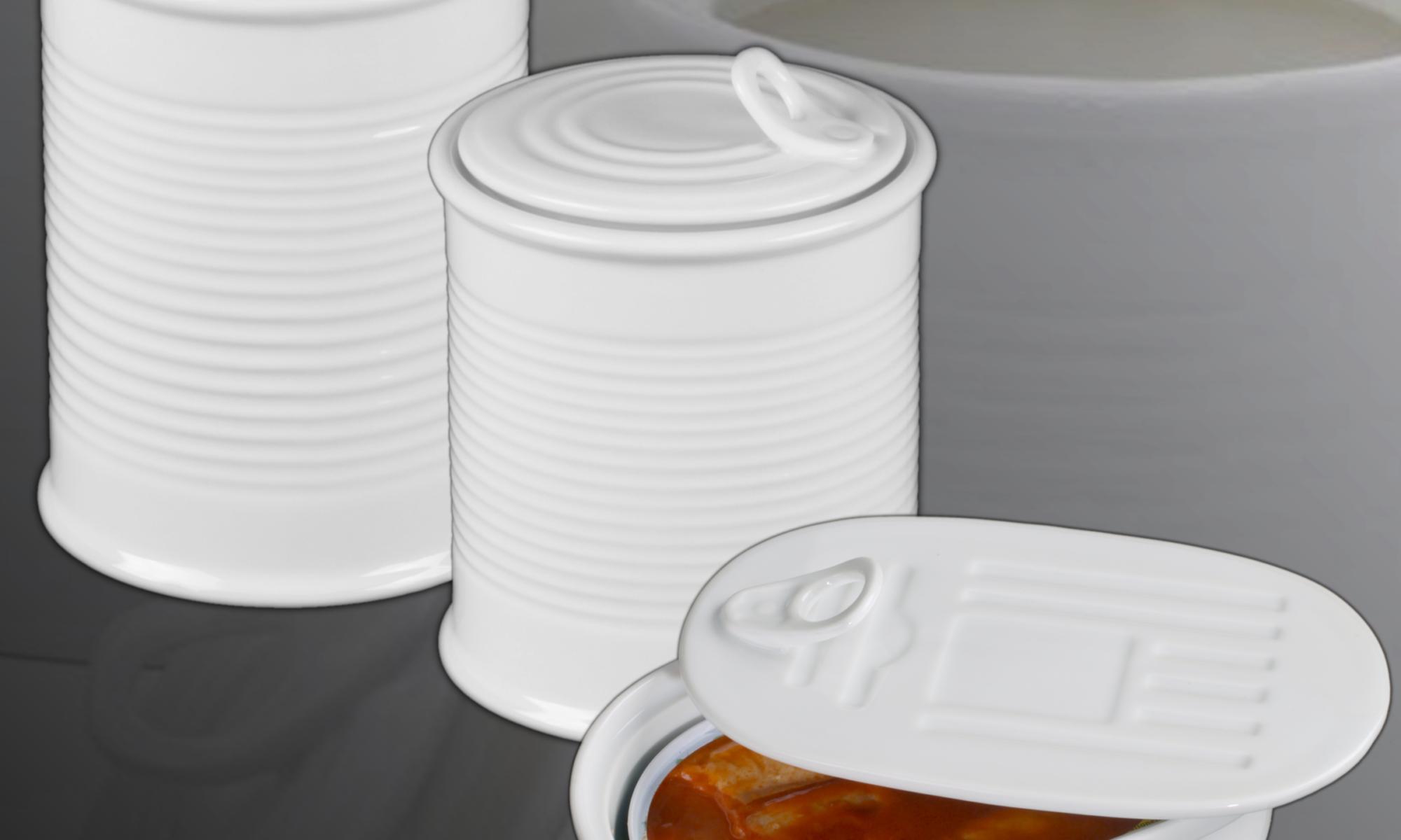 Konservendosen aus Porzellan